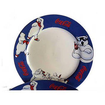 Coca cola. Vintage coca cola. Coca cola collectibles. Polar bear. Collectable vintage ceramic plates. 90s coca cola.