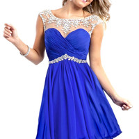 2016 Cap Sleeve Crystal Beaded Sheer Neck Pleated Royal Blue Red White Short Prom Dresses Formal Party Homecoming Dress