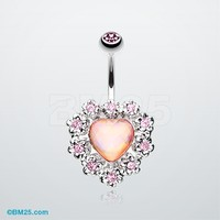 Sparkle Heart Flower Belly Button Ring