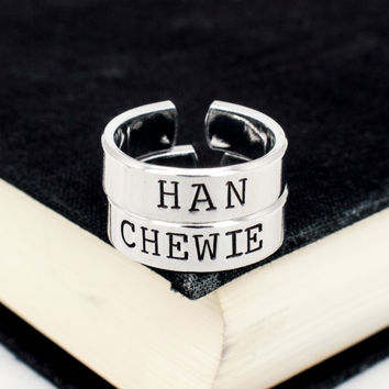 Han and Chewie Ring Set - Star Wars - Best Friends - Couples Ring Set