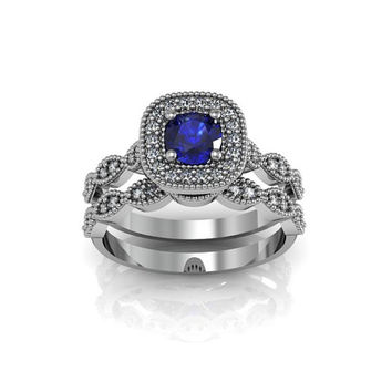 Art Deco Antique Style Halo Created Blue Sapphire Silver Wedding Engagement and Anniversary Ring Set