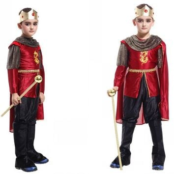 Fashion Children King Halloween Cosplay Costume Top+Pants+Cloak+Crown Party Masquerade Clothing Boy Attack on Titan Costume 18