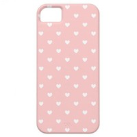 Cute Pink & White Hearts Patterned iPhone 5 Case from Zazzle.com
