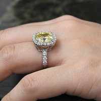 6.29 ct.tw Canary Yellow Halo Ring-Cushion Cut Diamond Simulants-Bridal Ring-Wedding Ring-Engagement Ring-Statement-Sterling Silver-R44712CA