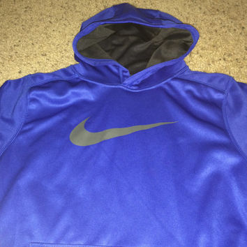 Sale!! Vintage Nike Therma-fit casual blue hooded jacket Free US Shipping