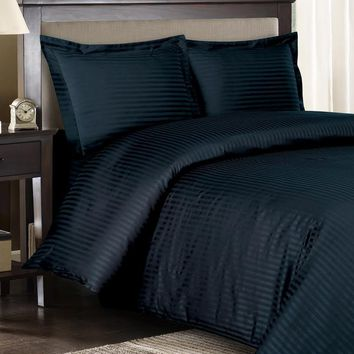 Stripe Navy Down Alternative Bed in A Bag Combed cotton 600 Thread count