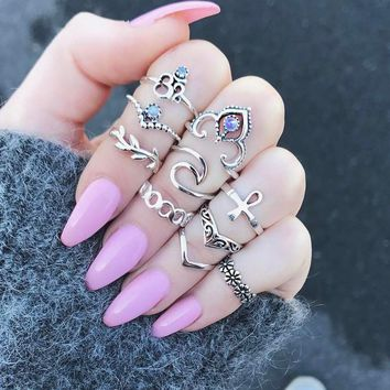 10pcs/Set Boho Vintage Punk Silver Color Cross Crown Crystal Rhinestone Finger Rings For Women Bohemian Ring Set Jewelry Gifts