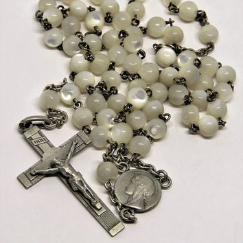 Vintage French, Art Deco, Mother Of Pearl, Silver, Rosary