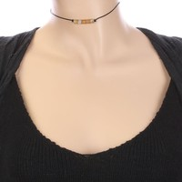 Brown Natural Stone Bead Faux Rubber Choker Necklace