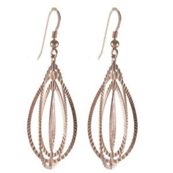 High Fashion Sterling Silver with Rose Gold Overlay Oval Shape Globe Design Earrings!