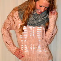 Cotton Candy Christmas Sweater: Pink