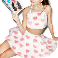 Nikki Lipstick Fluffy Heart Halter And Skirt Set White/Pink One
