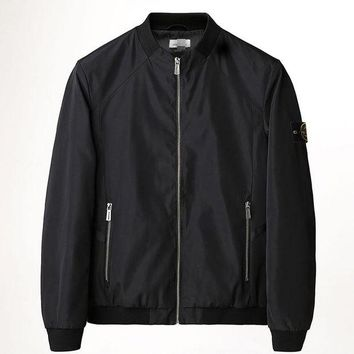 Discount stone island autumn and winter men's fashion trench coat men's casual jacket black DCCK
