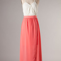 Dress - Cabana Escape Surplice Halter Color Block Maxi Dress in Coral