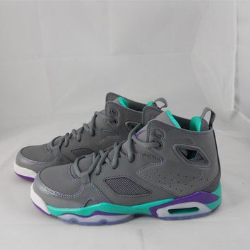 NEW JUNIORS NIKE GIRLS JORDAN FLTCLB '91 555333-009 COOL GREY/ULTRAVIOLET-ATMC T