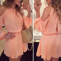 Pink Off Shoulder Long Sleeve Chiffon Mini Dress