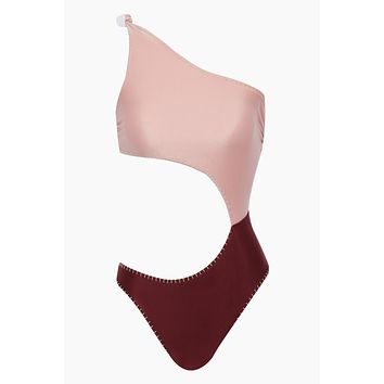 Eva Reversible One Shoulder Side Cut Out One Piece Swimsuit - Pink & Maroon Red Color Block
