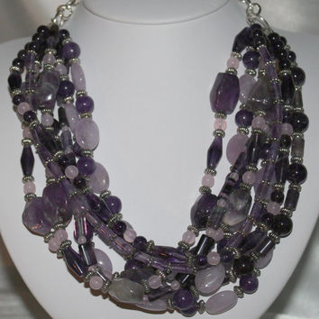 Amethyst Statement Necklace, Chunky Purple Gemstone Jewelry, OOAK Cape Amethyst Multi-Strand Statement Necklace, Shades of Lavender Jewelry