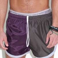 Split Running Shorts-Purple
