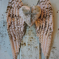 Pink metal angel wings w/ heart wall hanging distressed Santos inspired embellished rhinestone shabby cottage chic decor anita spero design