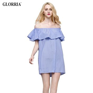 MUSENDA Women Loose Design White Blue Striped Off the Shoulder Ruffled Mini Dress Casual Fashion Sexy Dresses