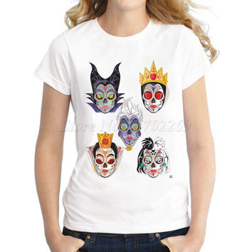 2017 New brand Women's cartoon Printed customized T shirt lady halloween cloths sugar skull design hipster tops funny tee