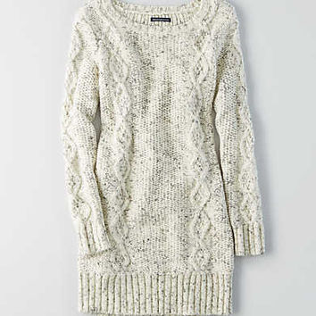 AEO Cable Tunic Sweater Dress, Cream