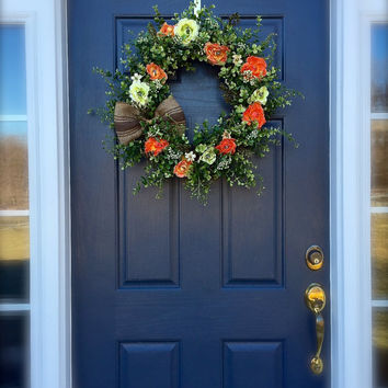 Boxwood Spring Wreath Orange Green Burlap Summer Decor Ranunculus Flowers