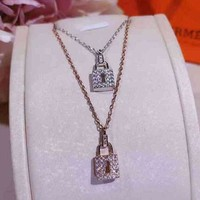 Hermes Woman Fashion Diamonds Lock Necklace Jewelry