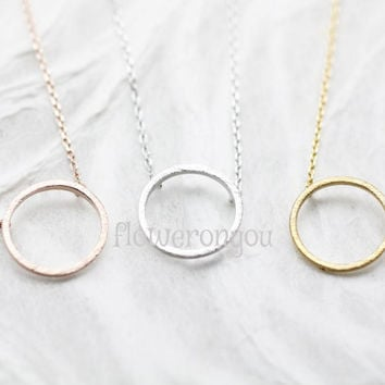 Geometric Open Circle Necklace, minimalist necklace jewelry, Circle Necklace