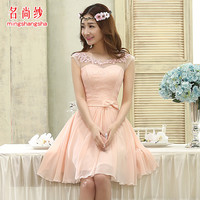 2015 new arrival short prom dresses pink for women elegant fashion style a line korean style cute sexy gowns short in stock