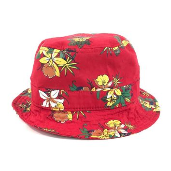 NWOT Obey H32 Unisex Mens Womens Red Floral Beach Hat Bucket Boonie Fishing Cap