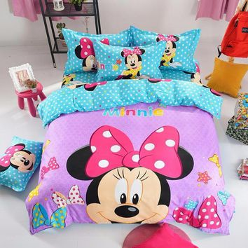 Cartoon Mickey Minnie Mouse Bedding Sets THICK Bedclothes Home Textile,3/4pcs Duvet Cover Bed Sheet Pillowcase Queen King Purple