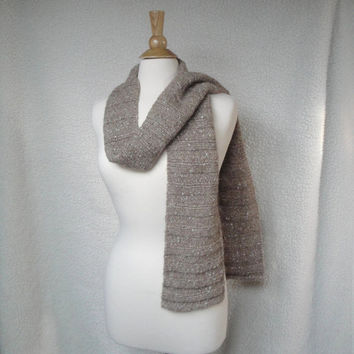 Long Knit Scarf, Alpaca Wool, Tan Brown, Sparkly, Womens Winter Scarf, Natural Fiber