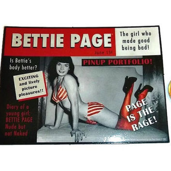 Bettie Page Magnet, Vintage Pinup, 50's Pin-Up Girl Fridge Refrigerator Magnet, Sexy Collectible Memorabilia Red & Black Decor, New UNUSED