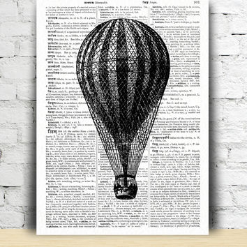 Air Balloon poster Antique illustration  Black and white art print