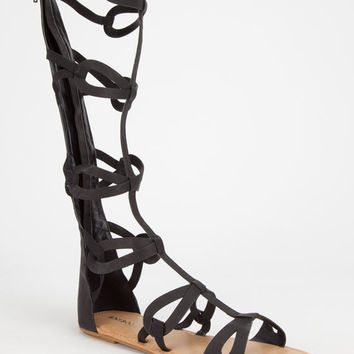 Bamboo Crossing Womens Gladiator Sandals Black  In Sizes