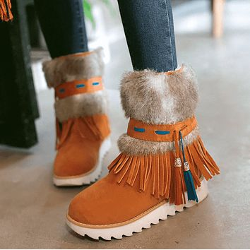 Flat Fringe Suede Round Toe Ankle Boots
