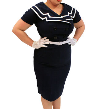 Bettie Page 60's Vintage Inspired Sailor Pinup Sailor Navy Pencil Dress