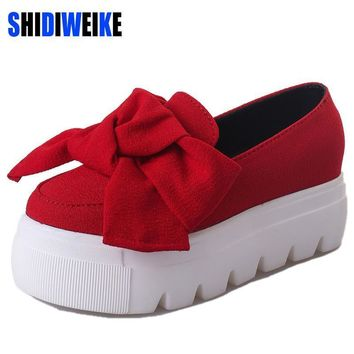 Spring moccasin Womens Fashion Creepers Shoes Bow Women Flats Loafers Ladies Slip On P