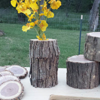 Rustic Outdoors Wood Mesquite Coasters Wood Circles Vase Pedestals Wedding Party Stand Flower Stand Centerpiece Decor Crafts Country Western