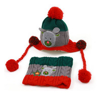 Lovely Infant Baby Winter Warm Knitting Cap Hat Scarf Baby Beanie Gray Red