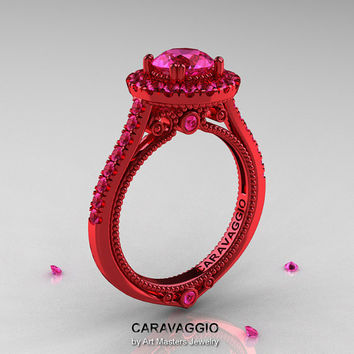 Caravaggio 14K Red Gold 1.0 Ct Pink Sapphire Engagement Ring, Wedding Ring R621-14KRGPS
