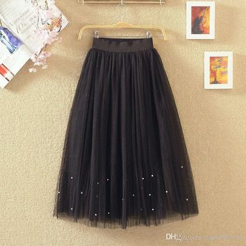 summer women length skirt Elastic waist Lace flower Pearl Beaded gauze Tutu skirt body elegant skirt