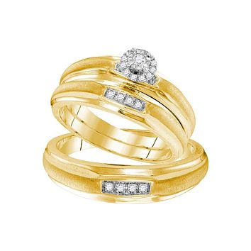 Yellow-tone Sterling Silver His & Hers Round Diamond Solitaire Matching Bridal Wedding Ring Band Set 1/6 Cttw