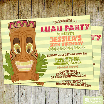Tiki invitation, Printable hawaiian party invitation, Luau birthday invitation / Digital customized invite card with sweet tiki statue