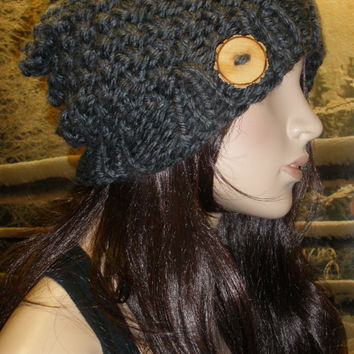 Slouchy Beanie Hat Winter Hand Knit Dark Gray Charcoal Woodsy Seed Stitch With Wood Button