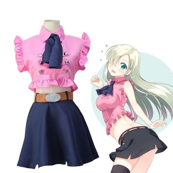 The Seven Deadly Sins Elizabeth Liones Cosplay Costume Full Set Dress ( Top + Skirt + Bow tie + Belt ) Nanatsu no Taizai Costume