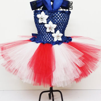 Lil' Patriot Tutu Dress, Sizes Newborn - 6T, American Flag, July 4th, Memorial Day, Holidays, Flag Day, Party Dress