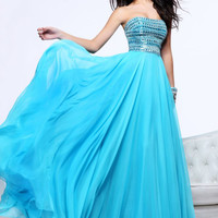 2013 Chic Prom Dresses Strapless Sweep Chiffon Rhinestone Prom Dress 1539,Evening Gowns Dresses